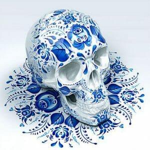 Skull with Blue Art