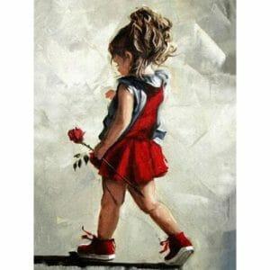 Heartbroken Kid with Red Rose