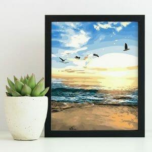 Birds Flying on the Beach