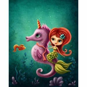 Beautiful Mermaid and a Seahorse