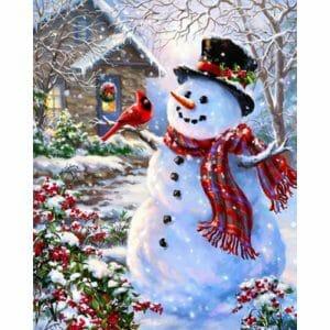 Snowman with a Sparrow