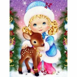 Cute Deer and a Girl