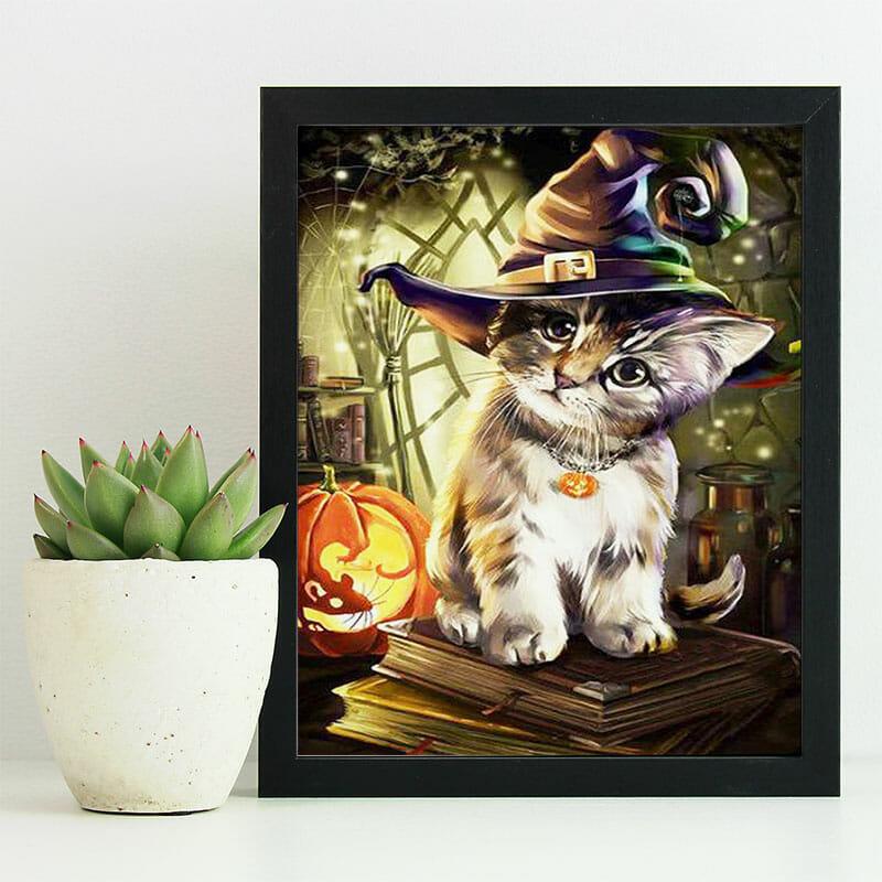 Cute Cat and Pumpkin