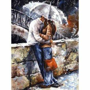 Romantic Couple Under an Umbrella