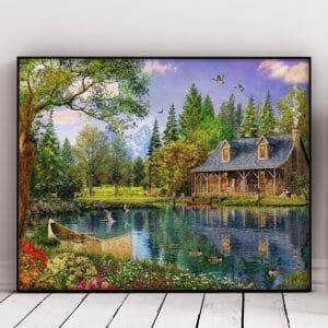 Beautiful House and Small Lake