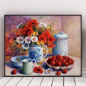 Cherries and Flowers