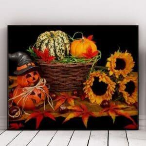 Halloween Pumpkin And Sunflower