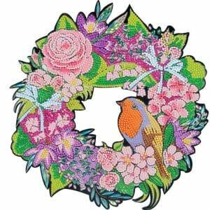 Sparrow and Flowers - Diamond Painting Wreath