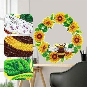 Bee and Flowers - Diamond Painting Wreath