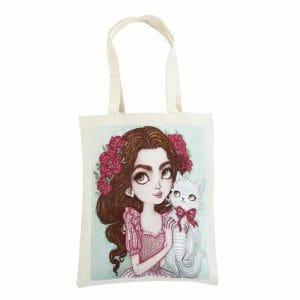 Girl and Cat - Diamond Painting Bag