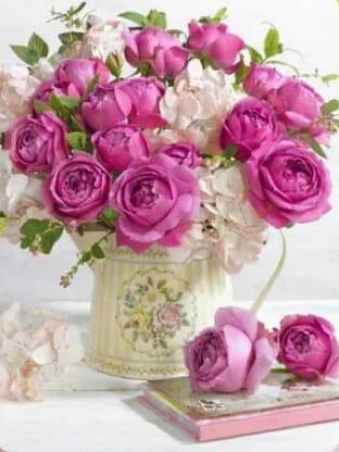 Roses in a White Vase