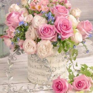 White Vase having Multi-Color Flowers