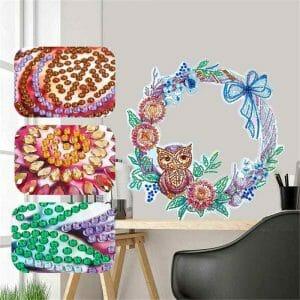 Owl and Flowers - Diamond Painting Wreath