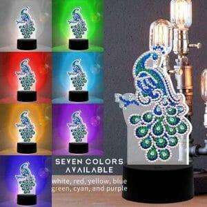 Peacock - Diamond Painting Lamp