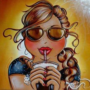 Fat Lady Drinking Juice